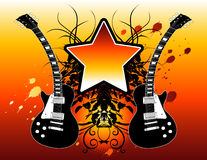 Rock star guitars. Vector illustration of electric guitars and a star with space for text Stock Image