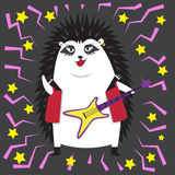 Rock star hedgehog with a guitar. Illustration Royalty Free Stock Photos