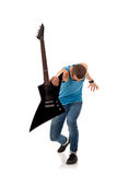 Rock star holding an electric guitar Stock Photos