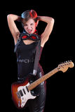 Rock star holding her electric guitar. sexy girl Stock Photo