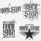 Rock star lettering Stock Images