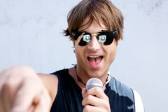 Rock Star with a Mic Royalty Free Stock Images