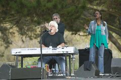 Rock star Michael McDonald performs in outdoor concert in Ventura, California for the Ventura Hillsides Conservancy and the Ventur Stock Image
