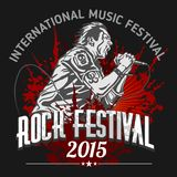 Rock star with microphone on grunge background -. Vector design rock festival Stock Image