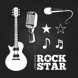 Rock star or musician elements set. On blackboard. Vector illustration stock illustration