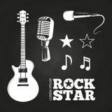Rock star or musician elements set. On blackboard. Vector illustration Royalty Free Stock Photos