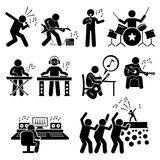 Rock Star Musician Music Artist with Musical Instruments Clipart. Vector set stick figure man pictogram representing rock star band and group. They are singer Stock Photography