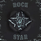 Rock star, paper background. Rock star black, torn paper background. Hole in black paper. Vector illustration Stock Photography