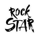 Rock star postcard. Ink illustration. Modern brush calligraphy. Isolated on white background. stock illustration