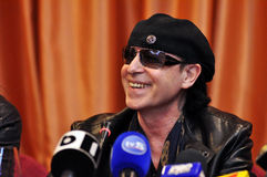 Rock star at press conference Stock Photo