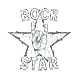 Rock star, print for t-shirt graphic. Vector illustration Royalty Free Stock Photos