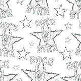 Rock Star seamless pattern. With Rock n Roll sign and a stars. Vector illustration Stock Images