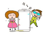 Rock-Star Singers with Smartphone Vector Illustration. Design Royalty Free Stock Photos