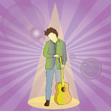 Rock Star in Spot Light. A male rock star is under the spot light in this fully scalable vector illustration royalty free illustration