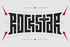 Rock Star - t-shirt design. Rockstar - music poster with red lig. Htnings and stars. T-shirt apparels cool print Stock Images