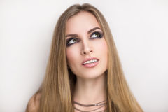 Rock Star Woman Smoky Eyes. Beautiful young attractive girl star model rock singer celebrity. Concert disco.  Dream desire success fame fortune. Perfect face Royalty Free Stock Photography