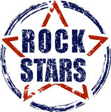 Rock stars blue and red rubber stamp grunge design. Stock Photography