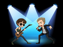 Rock stars. Illustration of two rock stars singing on stage Stock Photography