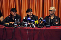 Rock stars at press conference Royalty Free Stock Photos