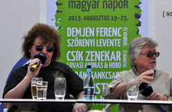 Rock stars during a press conference Stock Image