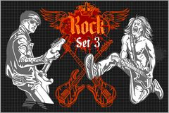 Rock-stars on rock concert - vector set Stock Photos