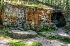Rock statue carving formation Kuks Betlem Bethlehem Braun forest. Czech republic Stock Images