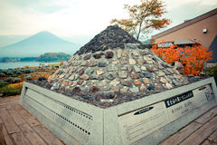 Rock statue nearby Kawaguchi lake and Mt.Fuji in the early autumn Royalty Free Stock Images