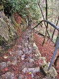Rock Steps at Backbone Rock. Rock steps lead to the top of the mountain at Backbone Rock Recreation Area near Damascus, Virginia Royalty Free Stock Photo