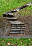 Rock steps in the park. Stairs trail in the autumn park Royalty Free Stock Photo