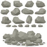 Rock Stone Cartoon In Isometric 3d Flat Style. Set Of Different Royalty Free Stock Images