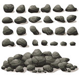 Rock stone cartoon in isometric flat style. Set of different Stock Photos