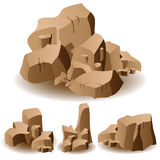 Rock and stone set. Illustration of different brown rocks and stones Royalty Free Stock Images
