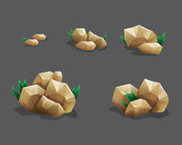 Free Rock Stone Set With Grass. Cartoon Stones And Rocks In Isometric Style. Set Of Different Boulders. Stock Images - 76072104