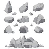 Rock Stones. Graphite Stone, Coal And Rocks Pile Isolated Vector Illustration Stock Image