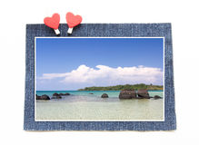 Rock Strange on Clear Sky at Koh Kham Beach with blue jeans conc Royalty Free Stock Image