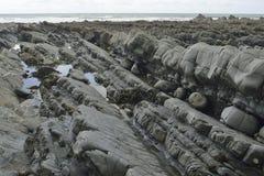 Rock Strata on Beach Royalty Free Stock Photo