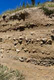 Rock stratigraphy in a excavation section. Near a mountain village in Romania Stock Photos