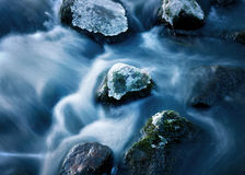 Rock in streaming water Royalty Free Stock Photos