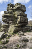 Rock structure at Brimham Rocks, Yorkshire, England. Imposing rock sructure at Brimham Rocks, North Yorkshire, England, UK on a sunny day Royalty Free Stock Photo