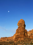 Rock structure and moon, Arches National Park, Moab Utah Stock Photos