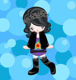 Rock style with bubble. Illustration of rocky girl dressing up rock style Stock Images