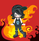 Rock style with fire. Illustration of rocky girl dressing up rock style Royalty Free Stock Photo