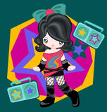 Rock style with radio. Illustration of rocky girl dressing up and listen radio Stock Image