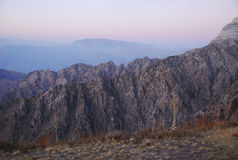 The rock at sunrise in the mountains of Tien Shan Stock Photography