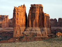 Rock Sunset. Evening red glow on rock formations at Arches National Park Stock Images