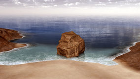 Rock in the surf. Computer generated 3D illustration with a rock in the surf Stock Image