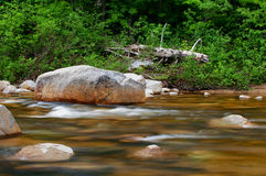 Rock and swift water in a new hampshire river Royalty Free Stock Photo