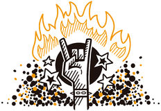 Rock symbol in fire. Hand showing rock symbol in fire Royalty Free Stock Photo