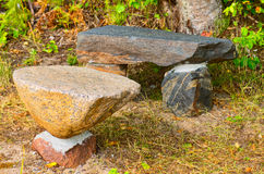 Rock table and bench Royalty Free Stock Photos
