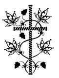 Rock tattoo. Black cross with flowers ornament Stock Photo